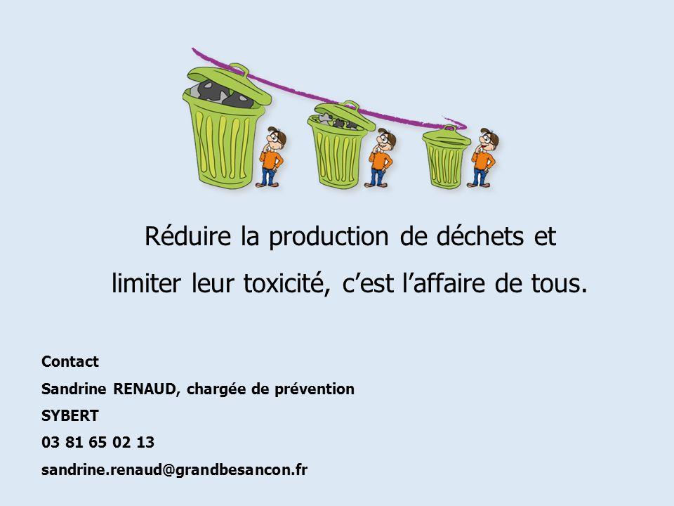 Réduire la production de déchets et limiter leur toxicité, cest laffaire de tous. Contact Sandrine RENAUD, chargée de prévention SYBERT 03 81 65 02 13