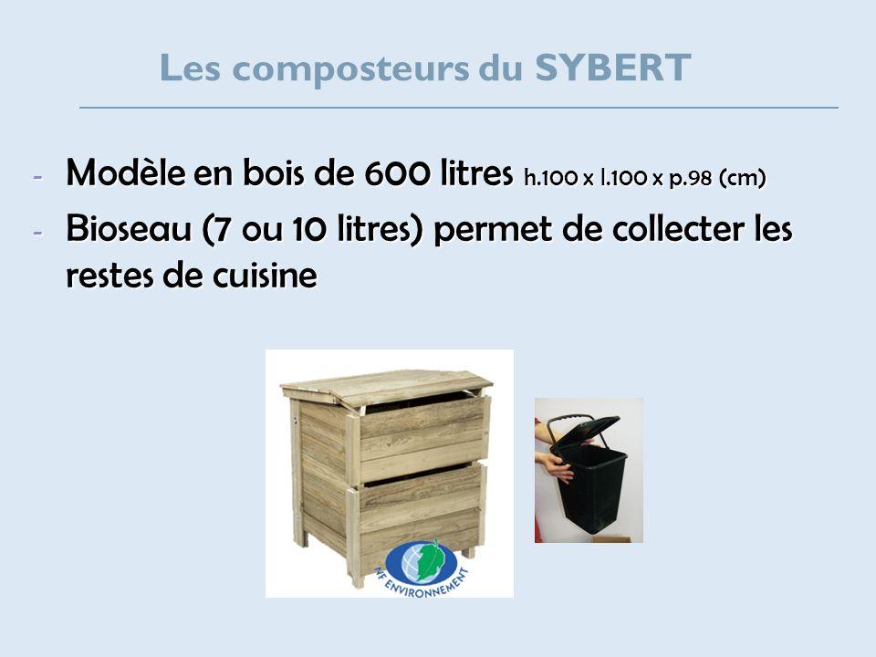 Les composteurs du SYBERT - Modèle en bois de 600 litres h.100 x l.100 x p.98 (cm) - Bioseau (7 ou 10 litres) permet de collecter les restes de cuisin