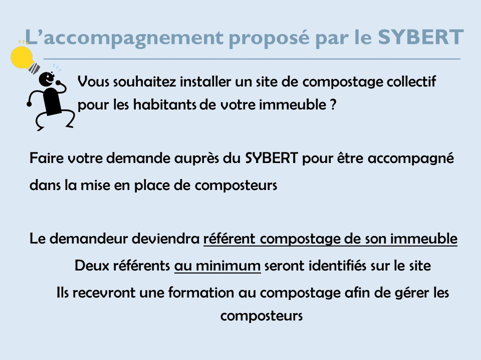 Laccompagnement proposé par le SYBERT Vous souhaitez installer un site de compostage collectif pour les habitants de votre immeuble ? Faire votre dema