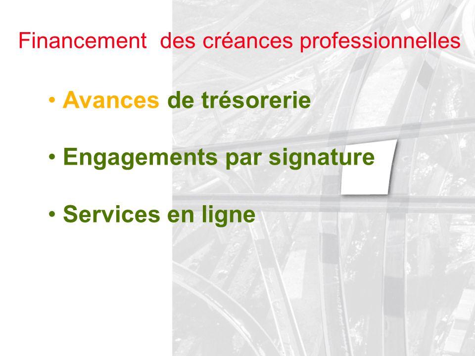 Financement des créances professionnelles Avances de trésorerie Engagements par signature Services en ligne