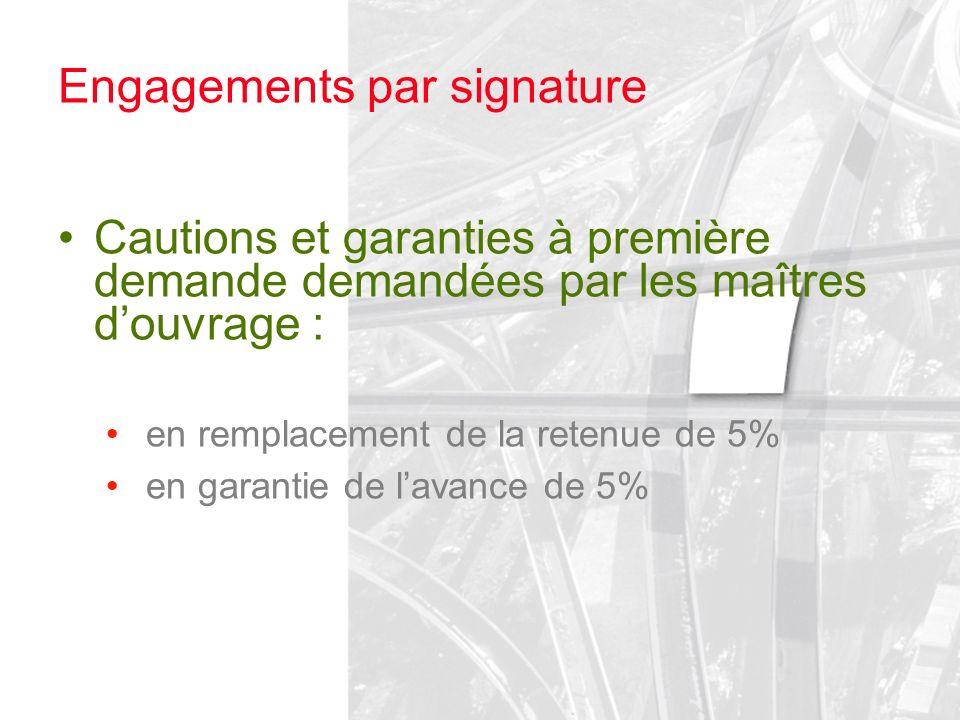 Engagements par signature Cautions et garanties à première demande demandées par les maîtres douvrage : en remplacement de la retenue de 5% en garanti