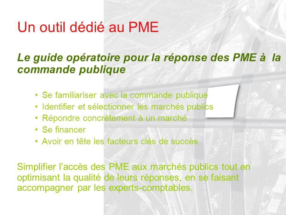 Un outil dédié au PME Le guide opératoire pour la réponse des PME à la commande publique Se familiariser avec la commande publique Identifier et sélec