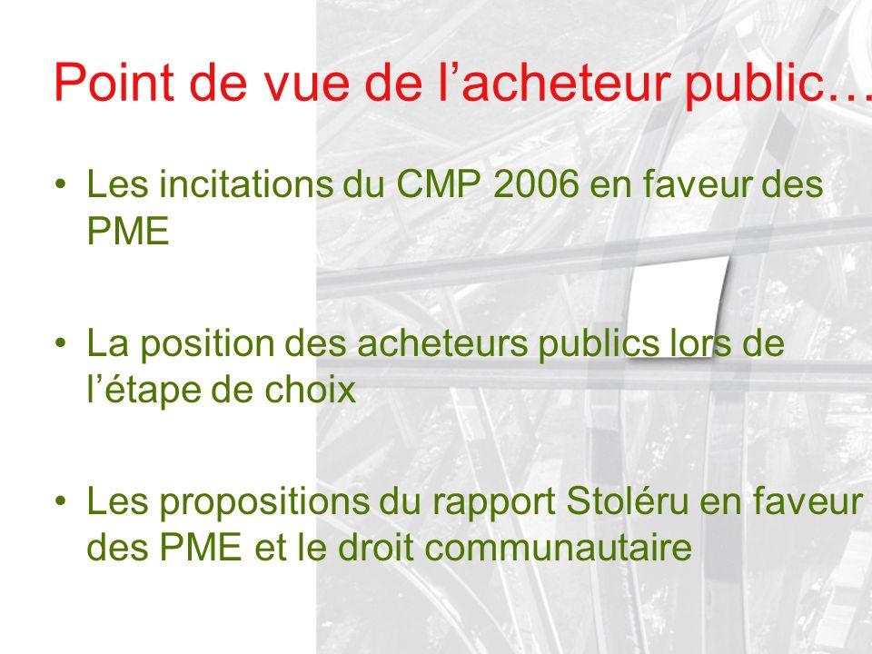 Point de vue de lacheteur public… Les incitations du CMP 2006 en faveur des PME La position des acheteurs publics lors de létape de choix Les proposit