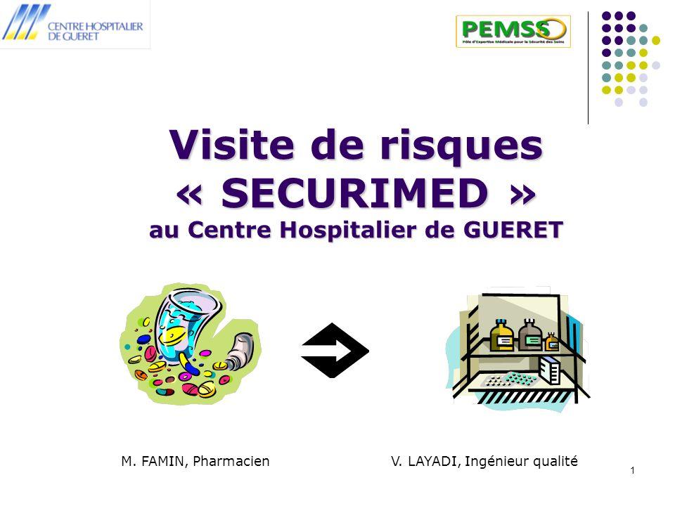 1 Visite de risques « SECURIMED » au Centre Hospitalier de GUERET M. FAMIN, Pharmacien V. LAYADI, Ingénieur qualité