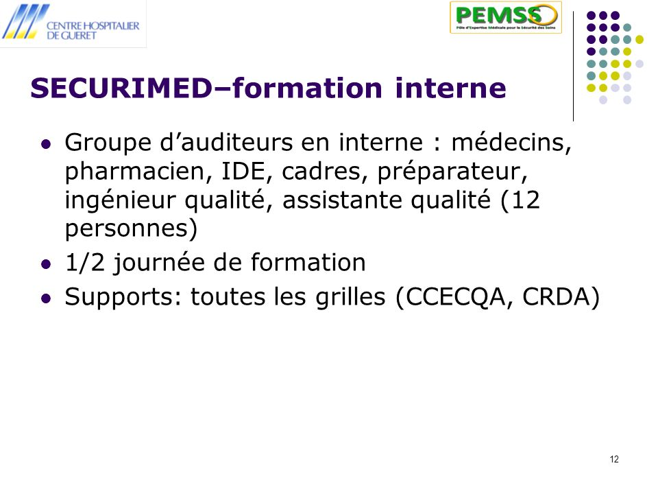 12 SECURIMED–formation interne Groupe dauditeurs en interne : médecins, pharmacien, IDE, cadres, préparateur, ingénieur qualité, assistante qualité (1