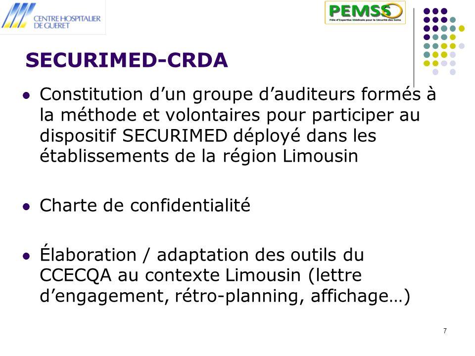 7 SECURIMED-CRDA Constitution dun groupe dauditeurs formés à la méthode et volontaires pour participer au dispositif SECURIMED déployé dans les établi
