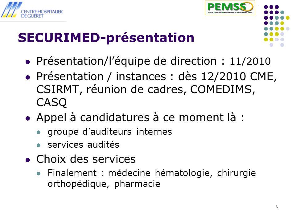 8 SECURIMED-présentation Présentation/léquipe de direction : 11/2010 Présentation / instances : dès 12/2010 CME, CSIRMT, réunion de cadres, COMEDIMS,