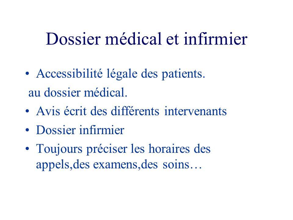 Dossier médical et infirmier Accessibilité légale des patients. au dossier médical. Avis écrit des différents intervenants Dossier infirmier Toujours