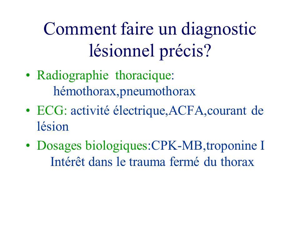 Comment faire un diagnostic lésionnel précis? Radiographie thoracique: hémothorax,pneumothorax ECG: activité électrique,ACFA,courant de lésion Dosages