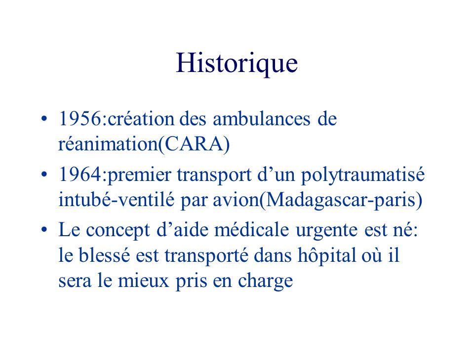 Historique 1956:création des ambulances de réanimation(CARA) 1964:premier transport dun polytraumatisé intubé-ventilé par avion(Madagascar-paris) Le c