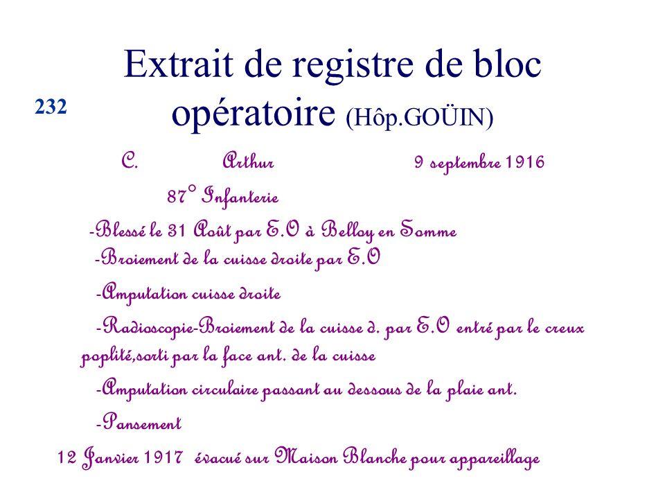 Extrait de registre de bloc opératoire (Hôp.GOÜIN) C. Arthur 9 septembre 1916 87° Infanterie -Blessé le 31 Août par E.O à Belloy en Somme -Broiement d