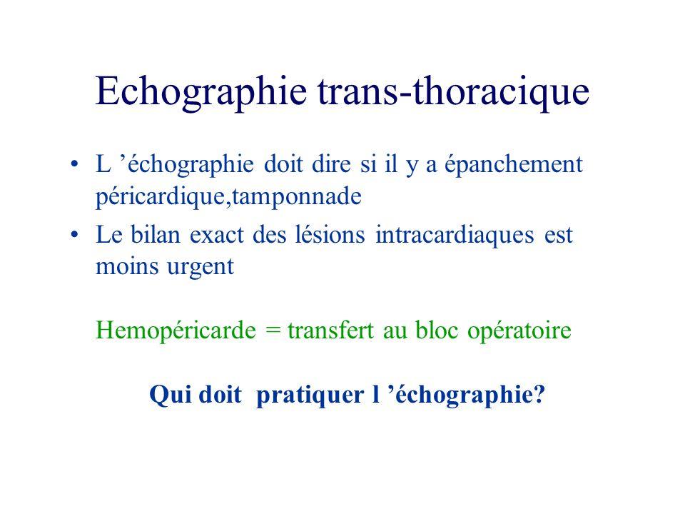 Echographie trans-thoracique L échographie doit dire si il y a épanchement péricardique,tamponnade Le bilan exact des lésions intracardiaques est moin