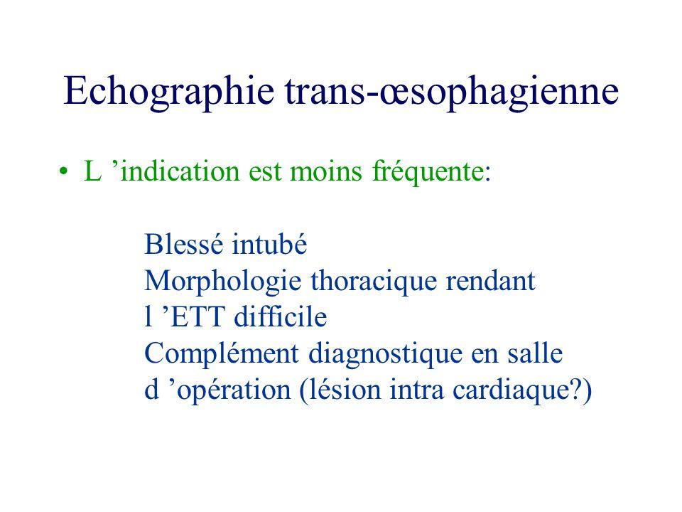 Echographie trans-œsophagienne L indication est moins fréquente: Blessé intubé Morphologie thoracique rendant l ETT difficile Complément diagnostique