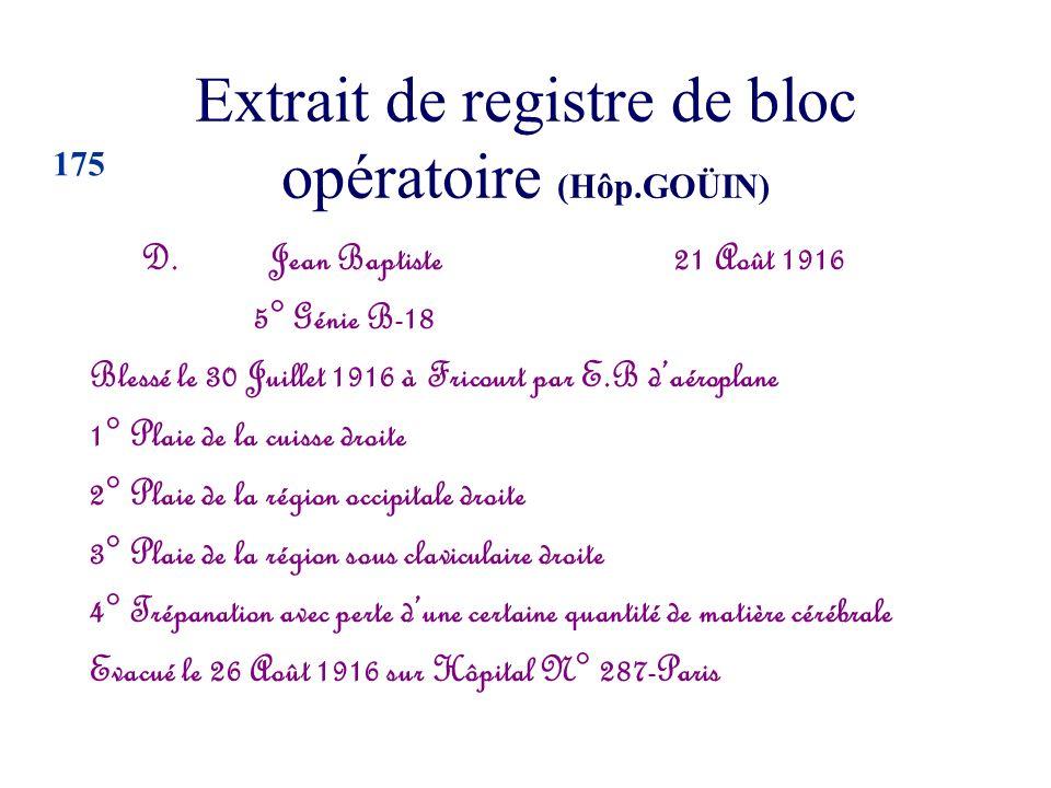 Extrait de registre de bloc opératoire (Hôp.GOÜIN) D. Jean Baptiste 21 Août 1916 5° Génie B-18 Blessé le 30 Juillet 1916 à Fricourt par E.B daéroplane