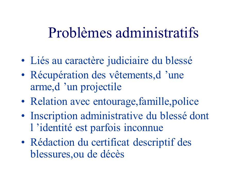 Problèmes administratifs Liés au caractère judiciaire du blessé Récupération des vêtements,d une arme,d un projectile Relation avec entourage,famille,