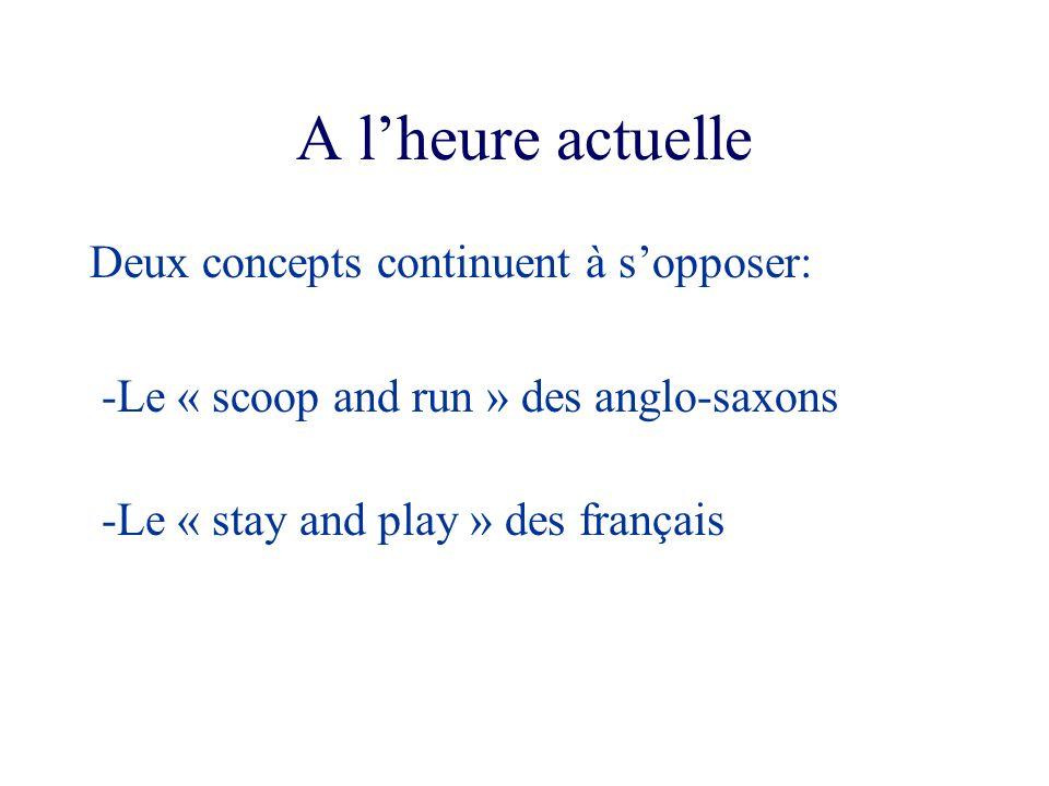 A lheure actuelle Deux concepts continuent à sopposer: -Le « scoop and run » des anglo-saxons -Le « stay and play » des français