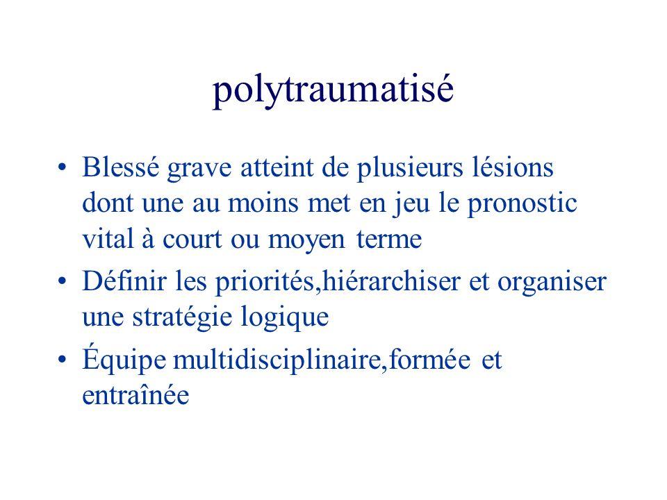 polytraumatisé Blessé grave atteint de plusieurs lésions dont une au moins met en jeu le pronostic vital à court ou moyen terme Définir les priorités,