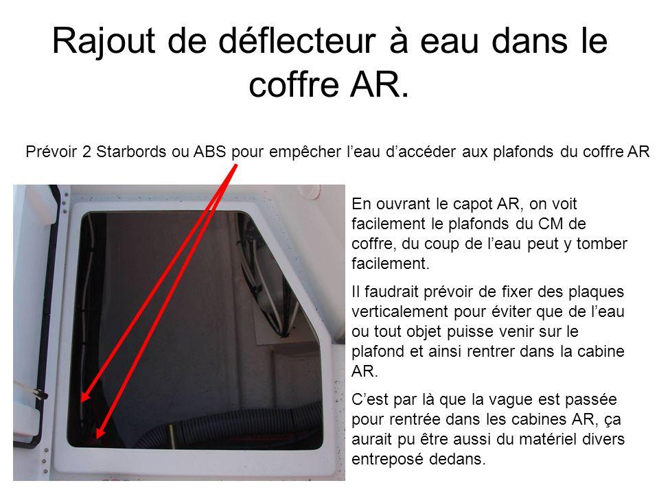 Rajout de déflecteur à eau dans le coffre AR.