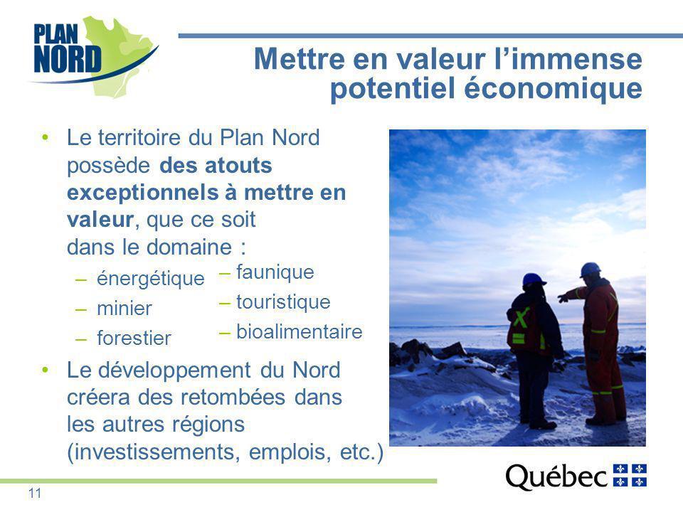 Mettre en valeur limmense potentiel économique Le territoire du Plan Nord possède des atouts exceptionnels à mettre en valeur, que ce soit dans le dom
