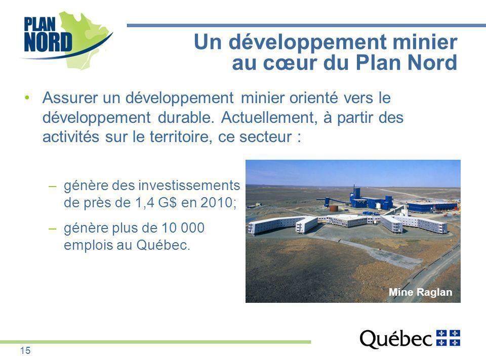 Un développement minier au cœur du Plan Nord Assurer un développement minier orienté vers le développement durable. Actuellement, à partir des activit