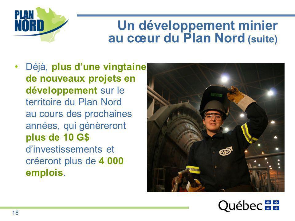 Un développement minier au cœur du Plan Nord (suite) Déjà, plus dune vingtaine de nouveaux projets en développement sur le territoire du Plan Nord au