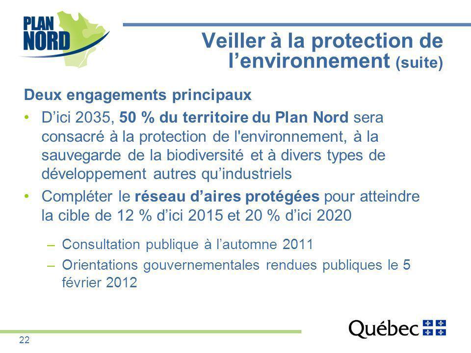 Deux engagements principaux Dici 2035, 50 % du territoire du Plan Nord sera consacré à la protection de l'environnement, à la sauvegarde de la biodive