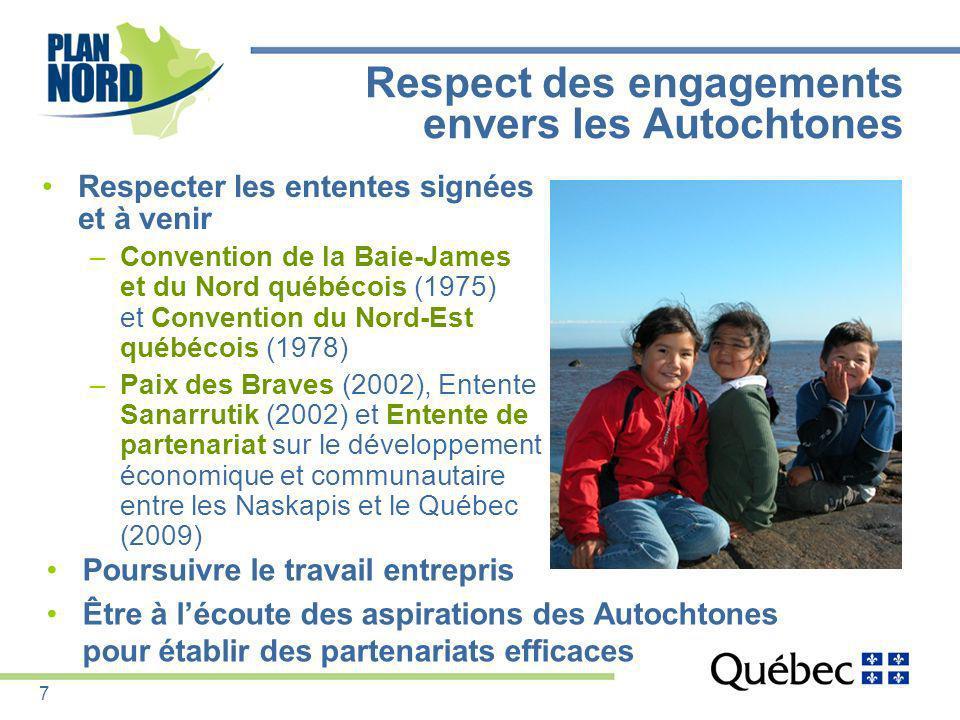 Respect des engagements envers les Autochtones Respecter les ententes signées et à venir –Convention de la Baie-James et du Nord québécois (1975) et C
