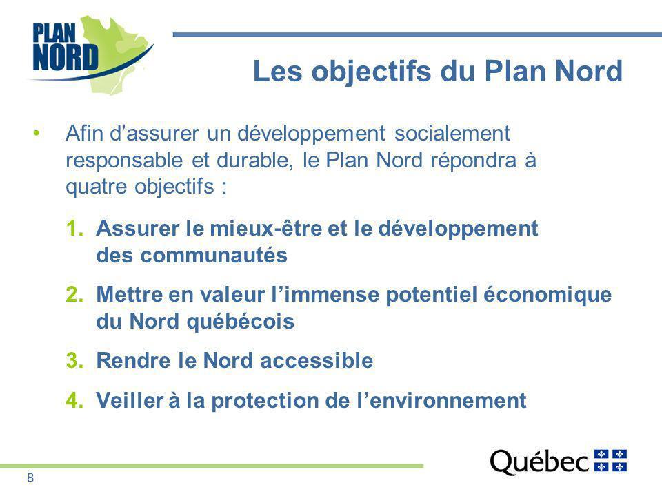 Les objectifs du Plan Nord Afin dassurer un développement socialement responsable et durable, le Plan Nord répondra à quatre objectifs : 1.Assurer le