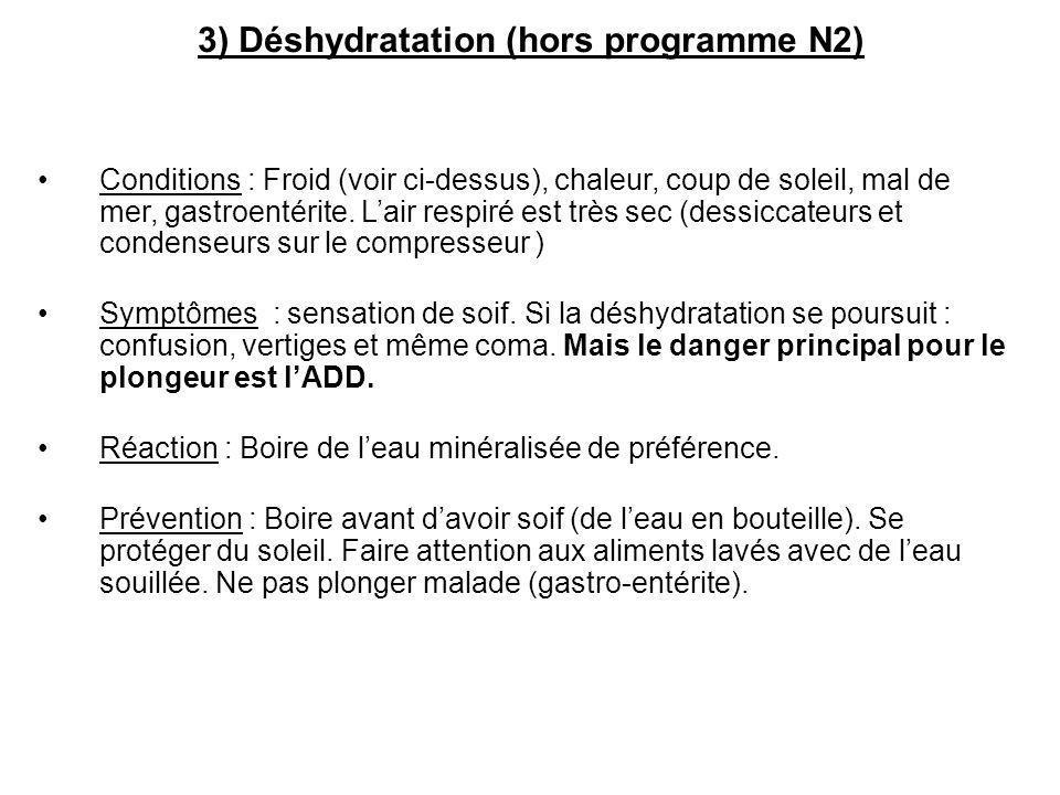 3) Déshydratation (hors programme N2) Conditions : Froid (voir ci-dessus), chaleur, coup de soleil, mal de mer, gastroentérite. Lair respiré est très