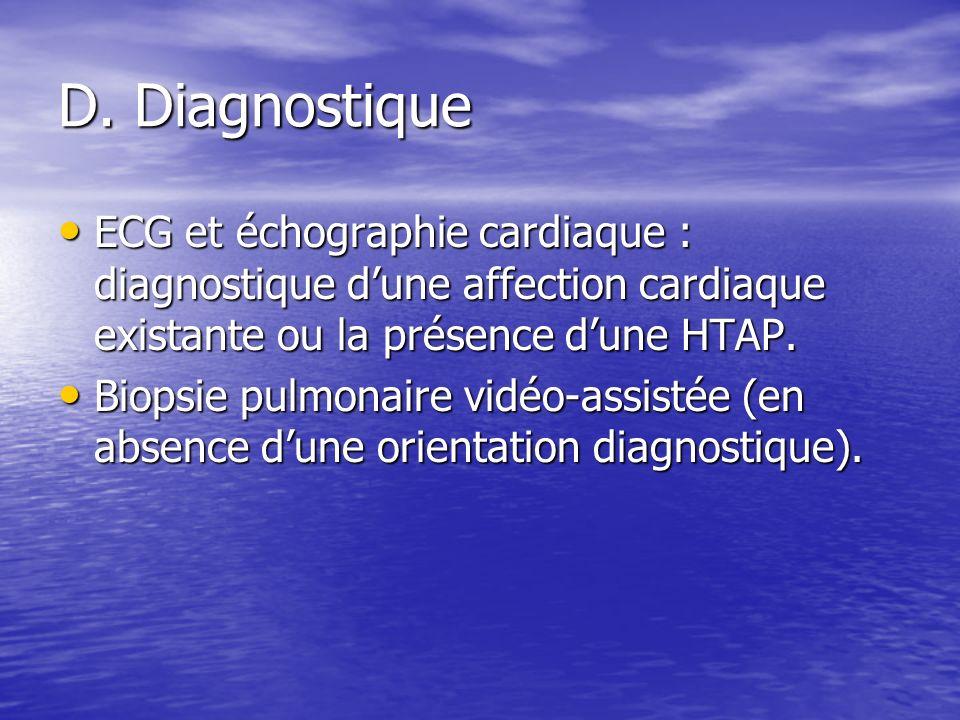 D. Diagnostique ECG et échographie cardiaque : diagnostique dune affection cardiaque existante ou la présence dune HTAP. ECG et échographie cardiaque