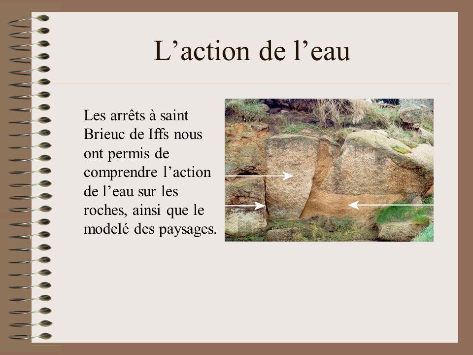 Laction de leau Les arrêts à saint Brieuc de Iffs nous ont permis de comprendre laction de leau sur les roches, ainsi que le modelé des paysages.