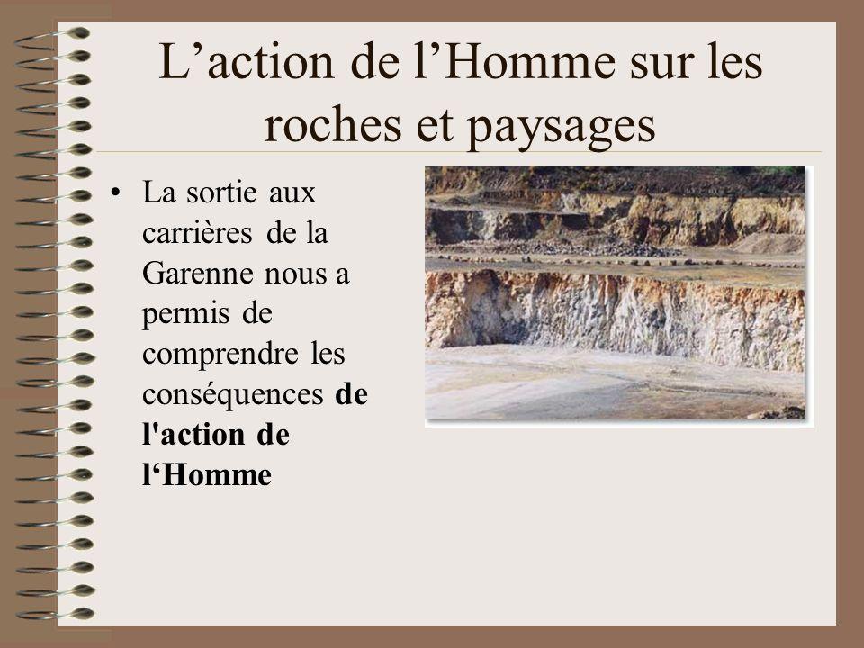 Laction de lHomme sur les roches et paysages La sortie aux carrières de la Garenne nous a permis de comprendre les conséquences de l'action de lHomme