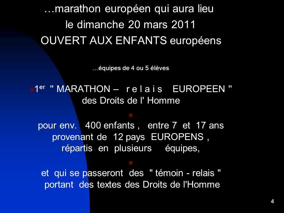 …marathon européen qui aura lieu le dimanche 20 mars 2011 OUVERT AUX ENFANTS européens …équipes de 4 ou 5 élèves 1 er '' MARATHON – r e l a i s EUROPE
