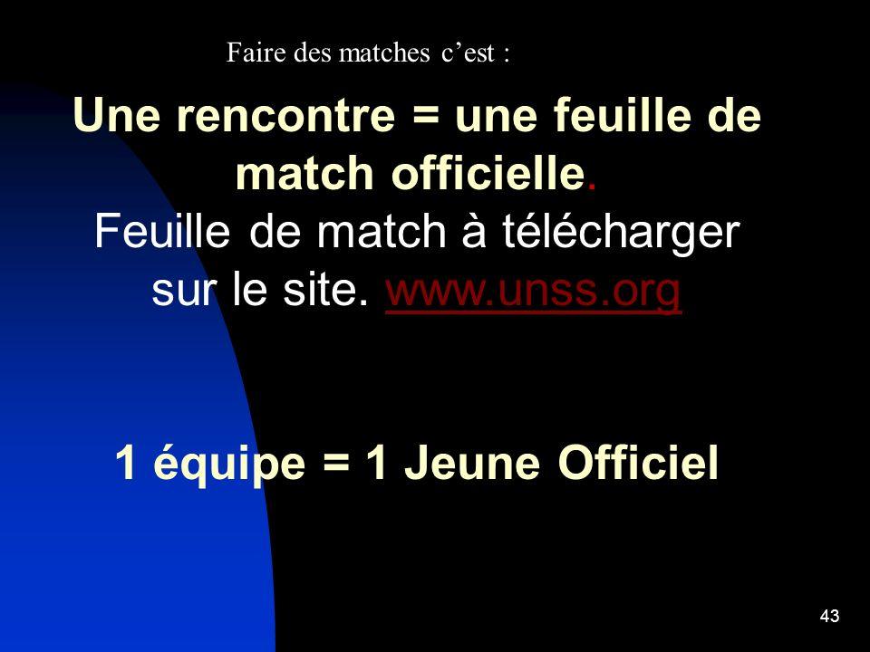 43 Une rencontre = une feuille de match officielle. Feuille de match à télécharger sur le site. www.unss.orgwww.unss.org 1 équipe = 1 Jeune Officiel F