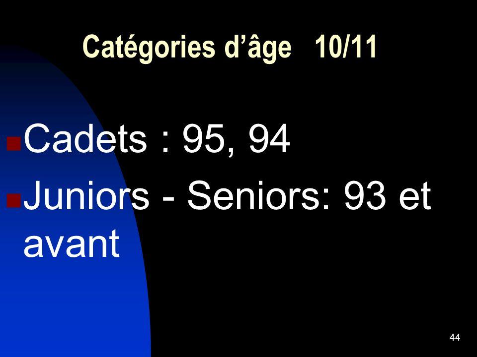 44 Catégories dâge 10/11 Cadets : 95, 94 Juniors - Seniors: 93 et avant