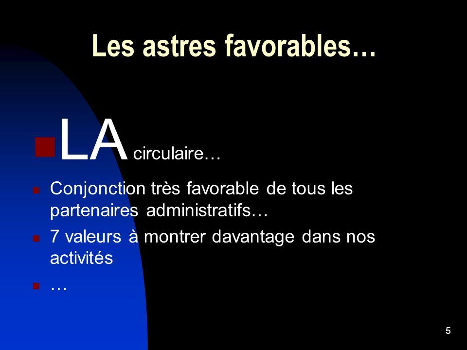 Les astres favorables… LA circulaire… Conjonction très favorable de tous les partenaires administratifs… 7 valeurs à montrer davantage dans nos activi