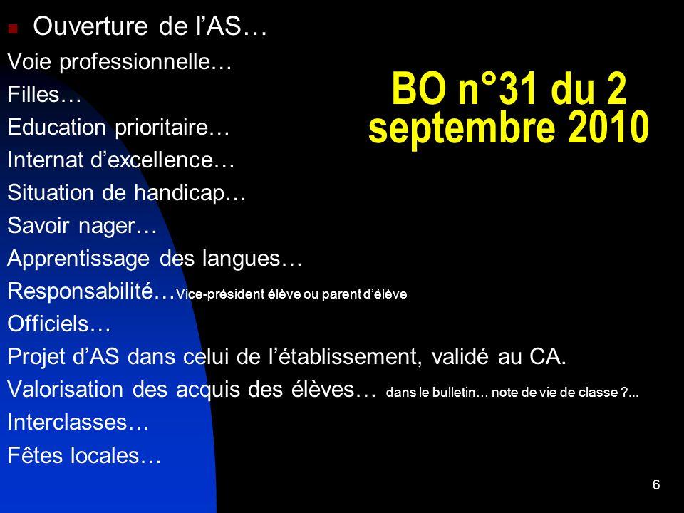 BO n°31 du 2 septembre 2010 Ouverture de lAS… Voie professionnelle… Filles… Education prioritaire… Internat dexcellence… Situation de handicap… Savoir