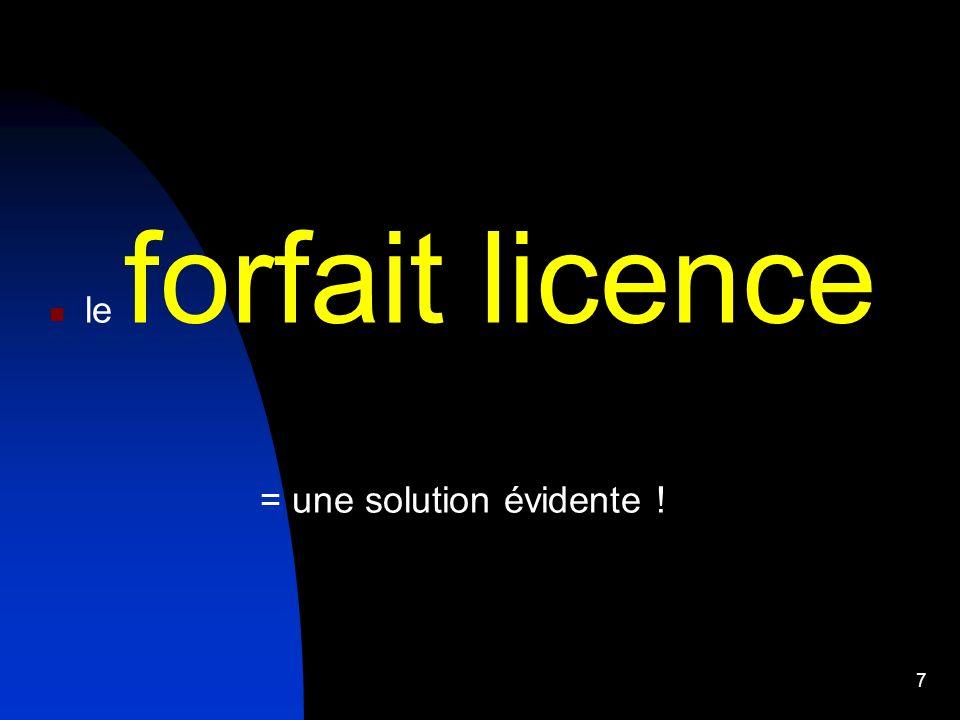 le forfait licence = une solution évidente ! 7