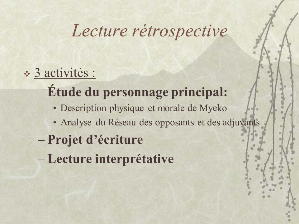 Lecture rétrospective 3 activités : –Étude du personnage principal: Description physique et morale de Myeko Analyse du Réseau des opposants et des adj