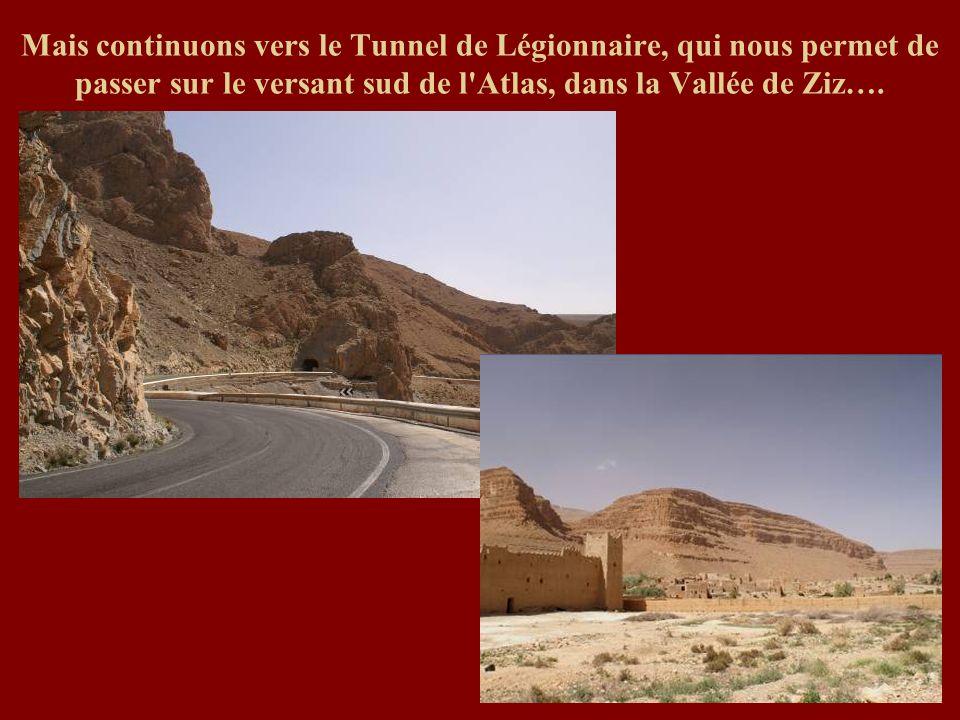Mais continuons vers le Tunnel de Légionnaire, qui nous permet de passer sur le versant sud de l'Atlas, dans la Vallée de Ziz….