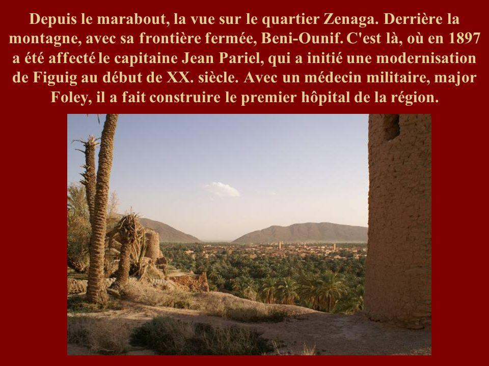 Depuis le marabout, la vue sur le quartier Zenaga. Derrière la montagne, avec sa frontière fermée, Beni-Ounif. C'est là, où en 1897 a été affecté le c