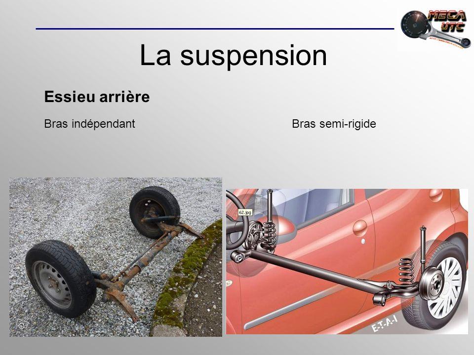 La suspension Essieu arrière Bras indépendantBras semi-rigide