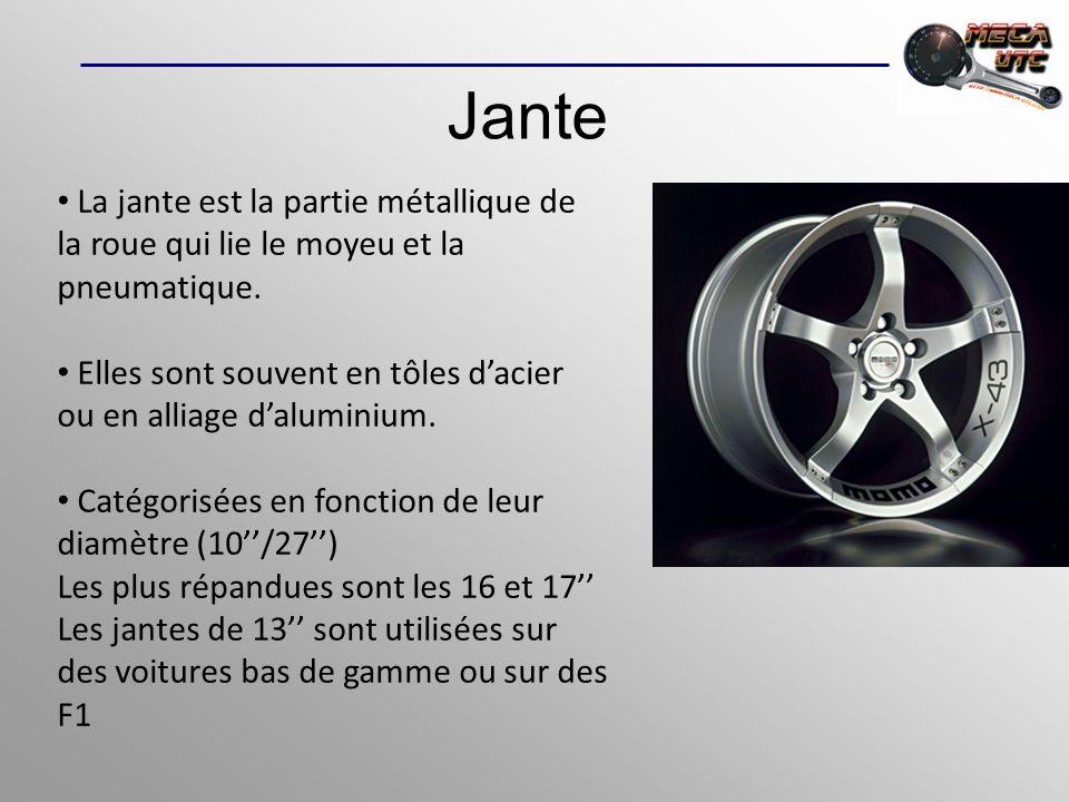 Jante La jante est la partie métallique de la roue qui lie le moyeu et la pneumatique. Elles sont souvent en tôles dacier ou en alliage daluminium. Ca