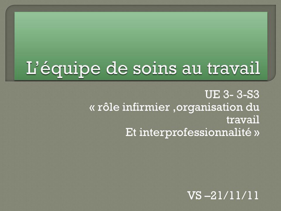 UE 3- 3-S3 « rôle infirmier,organisation du travail Et interprofessionnalité » VS –21/11/11