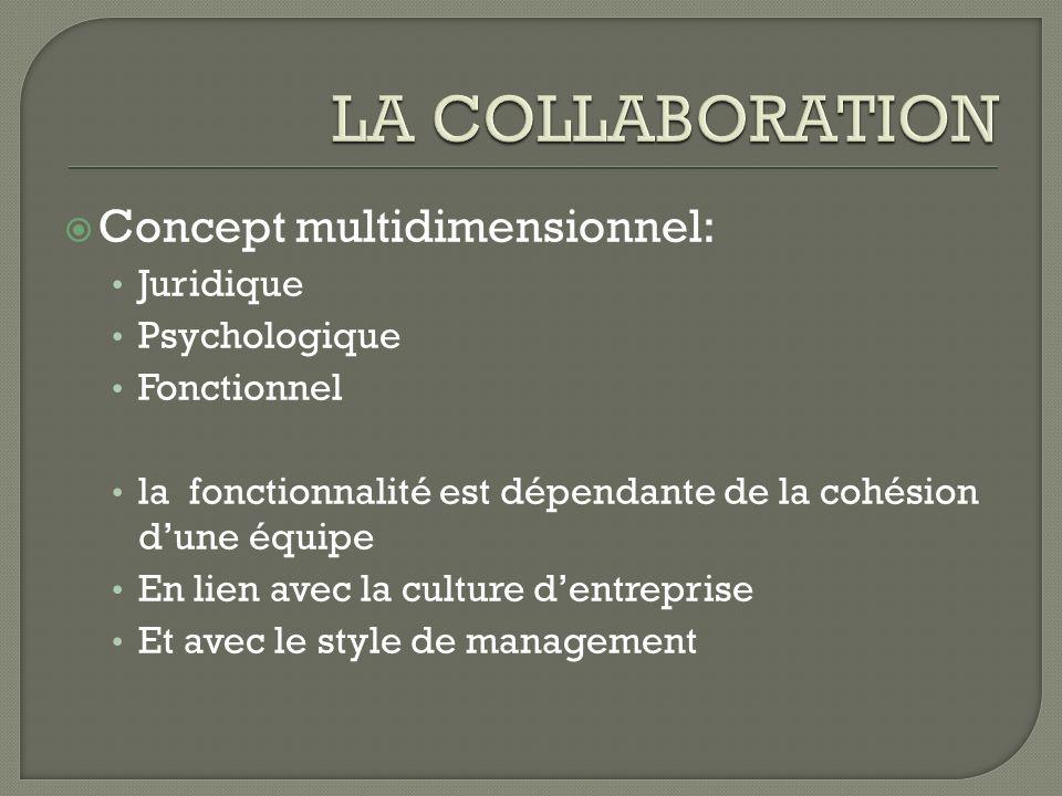 Concept multidimensionnel: Juridique Psychologique Fonctionnel la fonctionnalité est dépendante de la cohésion dune équipe En lien avec la culture den