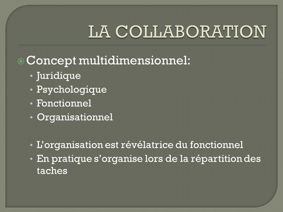 Concept multidimensionnel: Juridique Psychologique Fonctionnel Organisationnel Lorganisation est révélatrice du fonctionnel En pratique sorganise lors