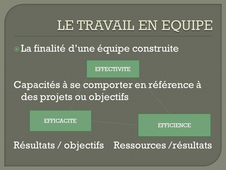 La finalité dune équipe construite Capacités à se comporter en référence à des projets ou objectifs Résultats / objectifs Ressources /résultats EFFECT