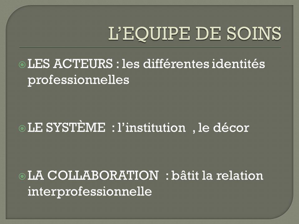 LES ACTEURS : les différentes identités professionnelles LE SYSTÈME : linstitution, le décor LA COLLABORATION : bâtit la relation interprofessionnelle