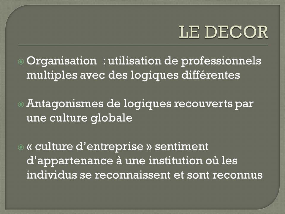 Organisation : utilisation de professionnels multiples avec des logiques différentes Antagonismes de logiques recouverts par une culture globale « cul