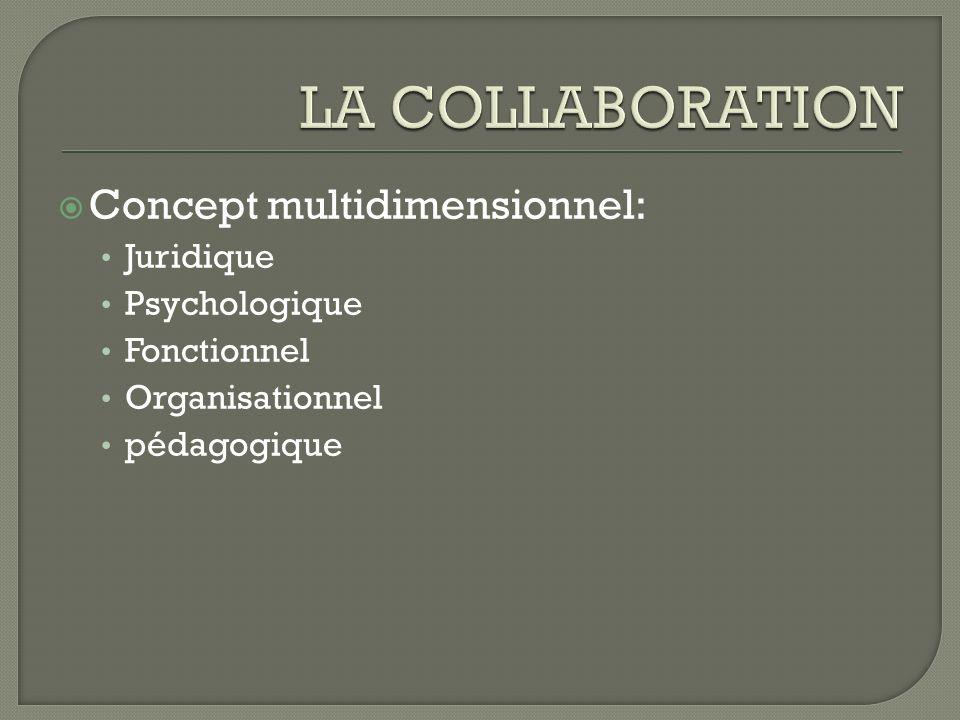 Concept multidimensionnel: Juridique Psychologique Fonctionnel Organisationnel pédagogique